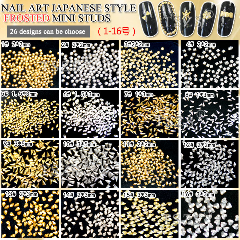 heart square round shape japanese style nail art frosted metal studs