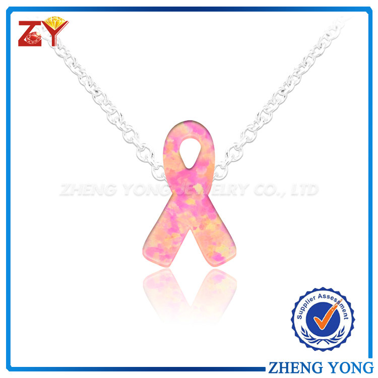 925 Sterling Silver Ribbon Shape Pink Fire Opal Necklace For Girl
