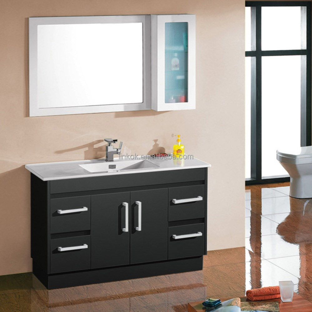 Home bathroom furniture single basin bathroom vanity and linen cabinet