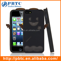 Set Screen Protector And Case For Iphone 5 , Black Angel Silicon Cover For Phone