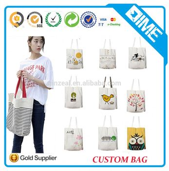 Custom Women Printed Cotton Hansbag With Outside Pockets
