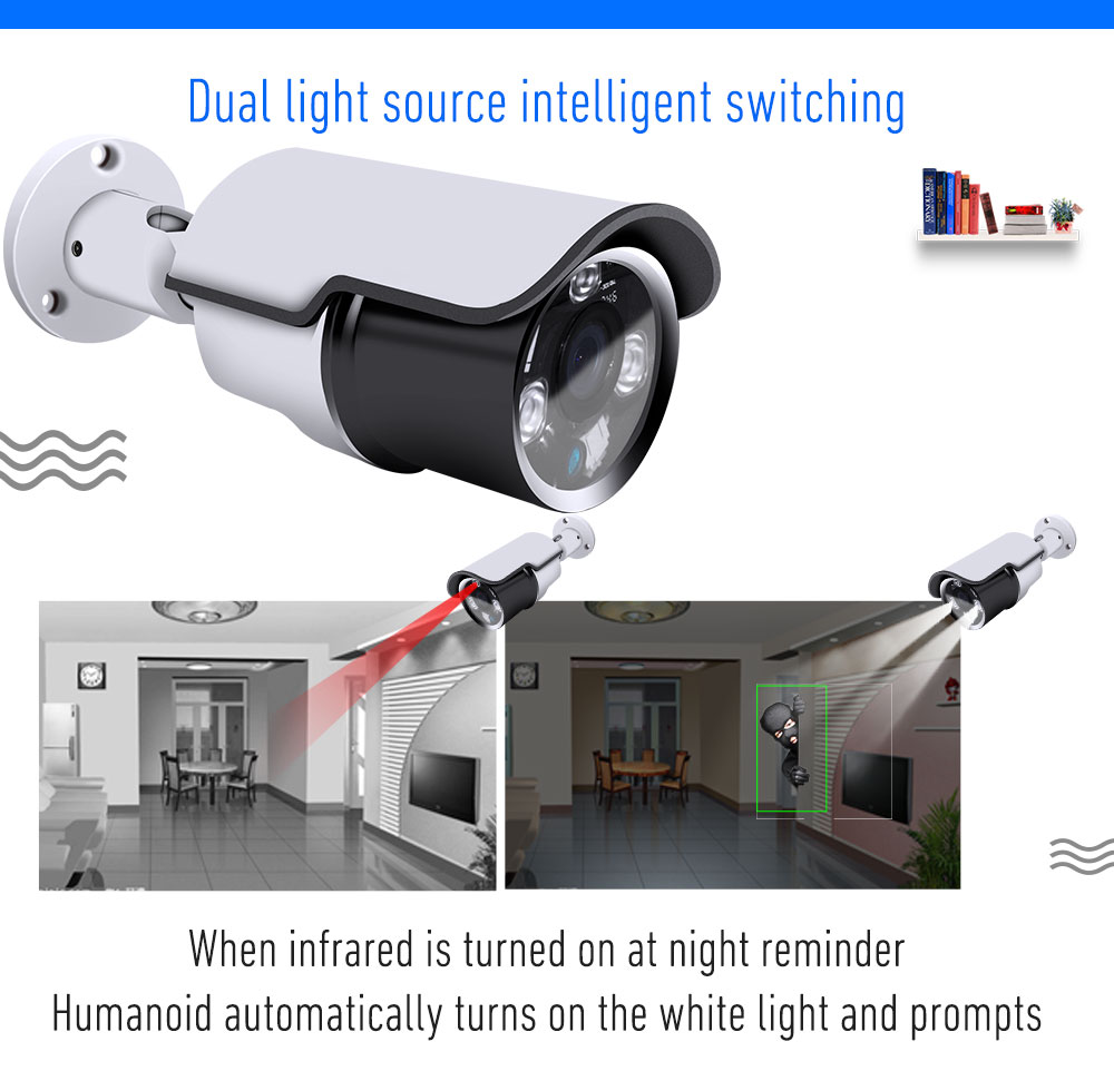 XONZ high tech double light source humanoid motion detection 5MP outdoor  IP camera for phone or computer viewframer mode