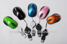 3D mini wired Optical mouse With USB retractable Cable fashion style in 2013