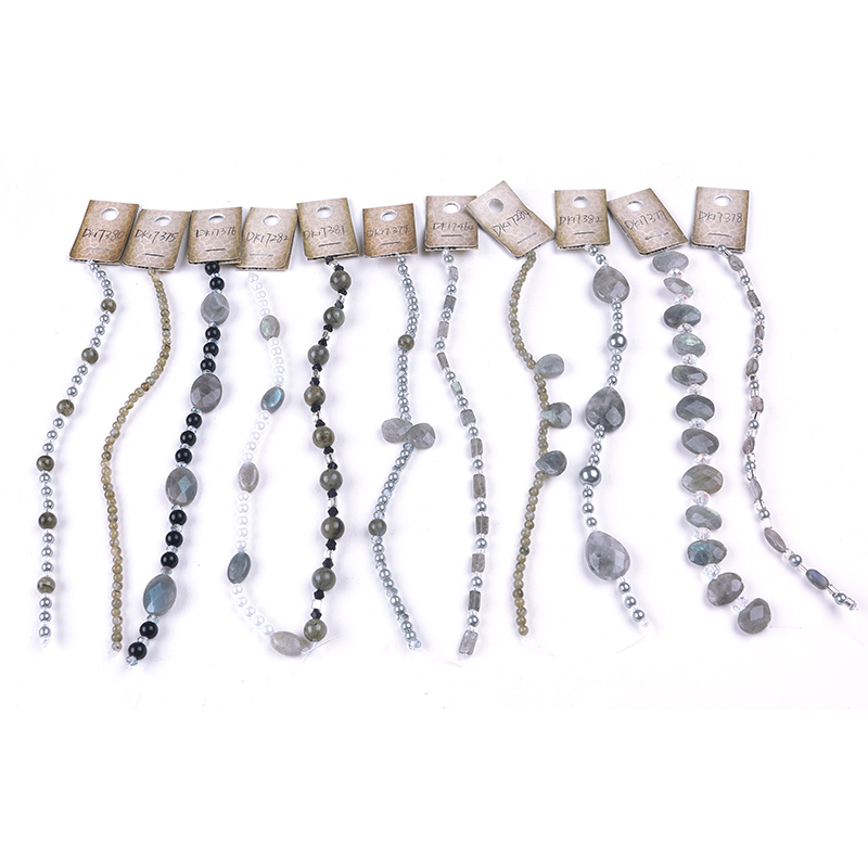 Round stone beads bracelet with charms
