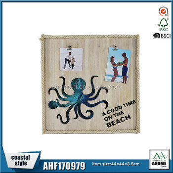 Octopuses Wooden Rope Design Wall Decor Board With Picture