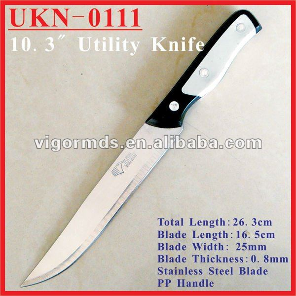"(UKN-0111) 10"" Long Blade Plastic Handle Kitchen Slicing Knives"