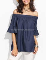 MIKA1076 Blue Bell Sleeve Off The Shoulder Chambray Top