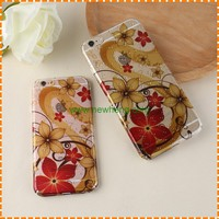 Fashion Color Water Drop Painted flowers Transparent tpu case for iphone 7