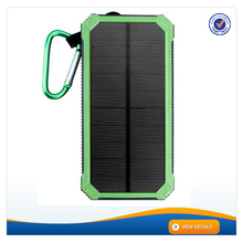 AWC938 Novel Design Solar Cell Phone Charger 12000mAh Battery Charger with Carabiner LED Light Dual USB Charger