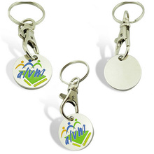 Hot sale funny serrated design metal coins holder keychain with logo
