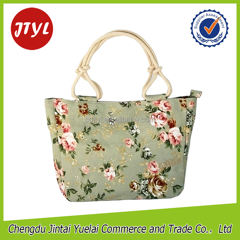 2017 Fashion Canvas Printed Floral <strong>Handbags</strong> for Women Shopping Lady Foldable Hand Tote Bag with Multicolor flowers