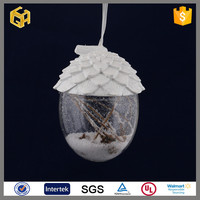Hot sell glass snow inside bell baubles christmas