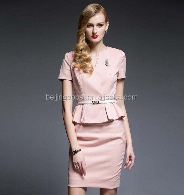 Wholesale custom fashion elegant lady front office uniforms for ladies