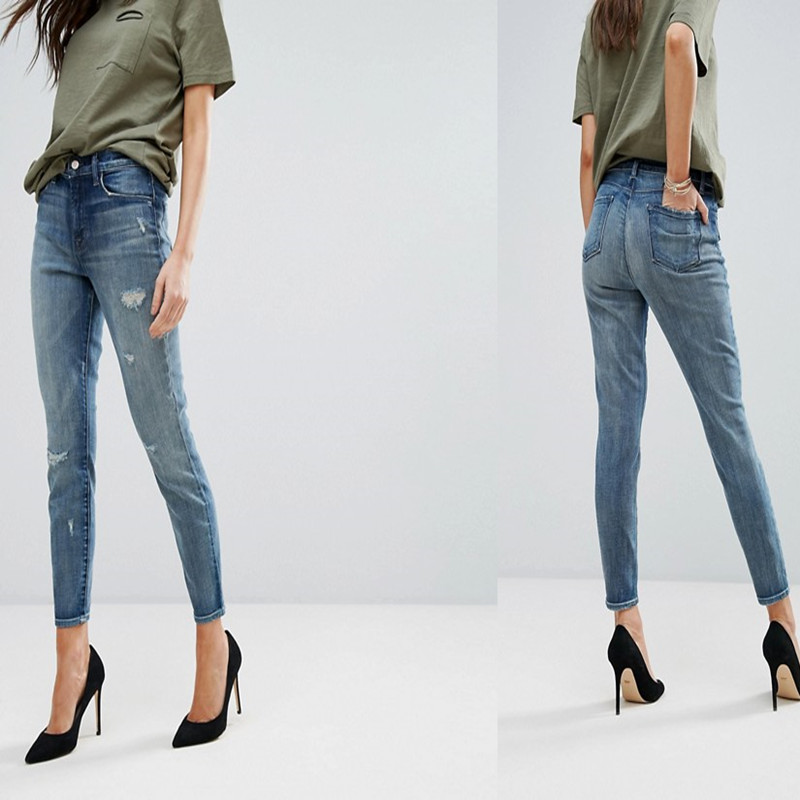 Females Light blue Cotton Soft Stretch Denim High Rise Cropped Ripped Skinny Jeans