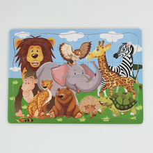 cheap good quality education toys wooden animal puzzle