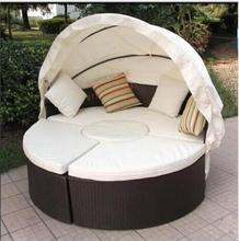 2017 Black Rattan Sun Loungers With Wood handle