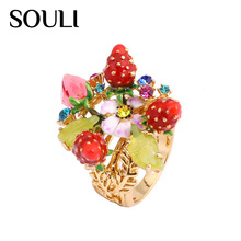 Ladies Gold Plated Finger Ring Design, Strawberry Ring with Enamel