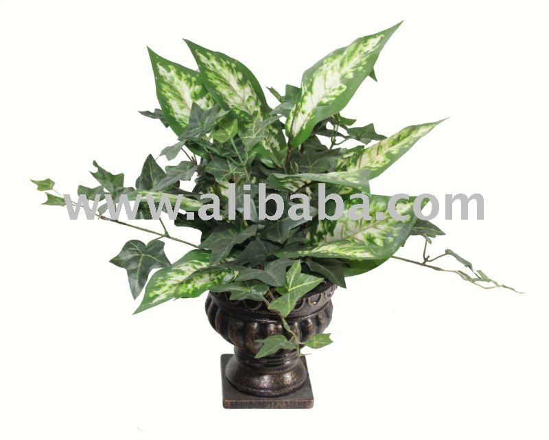 "Artificial flower, Chinese evergreen in 6""Pot (81666)"