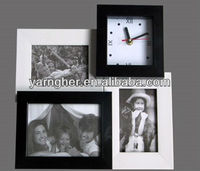 "wholesale wall""5x7"" 4x6"" black and white porous plastic photo frame with clock"