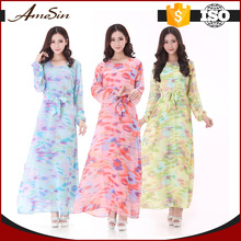AMESIN Latest Design Muslim Chiffon Long Dress Islamic Dress