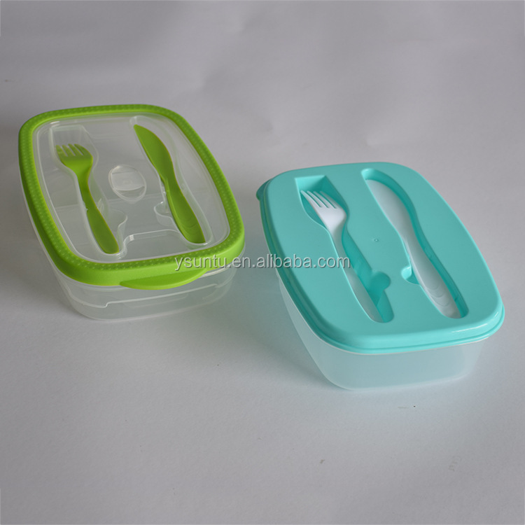 Hot Product plastic food container with knife and fork
