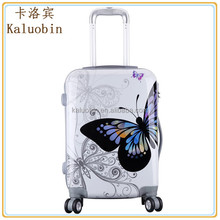 new product colorful printing abs+pc fashion waterproof visagistin trolley/cute plastic luggage/bagages adolescentes