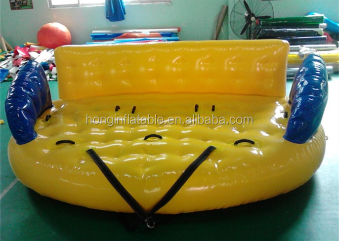 Cheap price giant 2-4 persons inflatable flying mable boat water park toys for sale