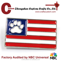 Design Good quality Custom dog palm flag lapel pin