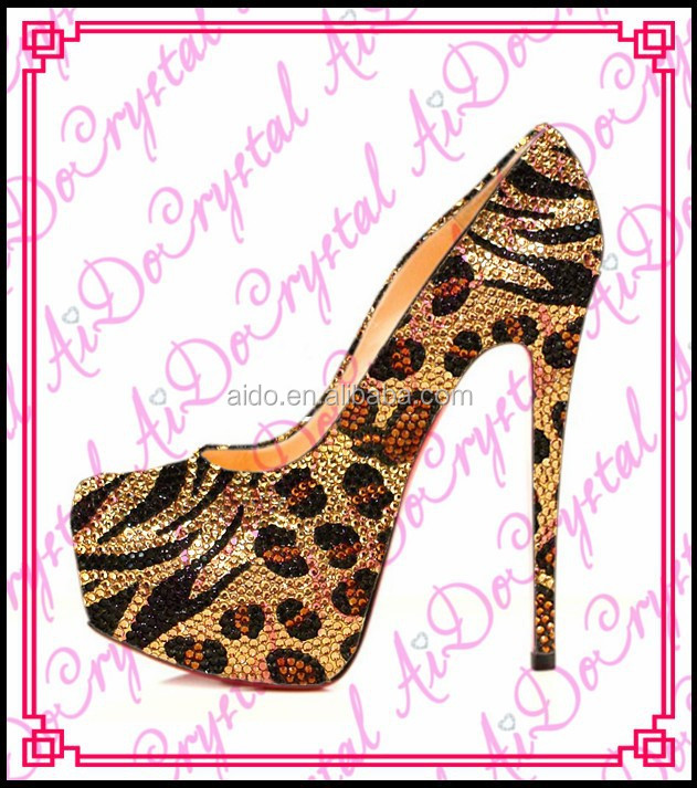 Aidocrystal sexy leopard print crystal very high <strong>heels</strong>,rhinestone women pumps shoes