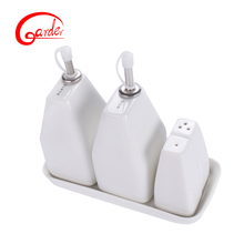 White ceramic oil & vinegar / salt pepper shaker cruet set with stand for cooking