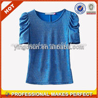 Fashion women wear puff short sleeve t shirt(YCT-B0089)