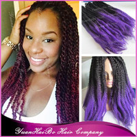 "STOCK! 6pcs/lot Cheap Price 20"" fold ombre color black/purple synthetic two tone marley braiding hair"
