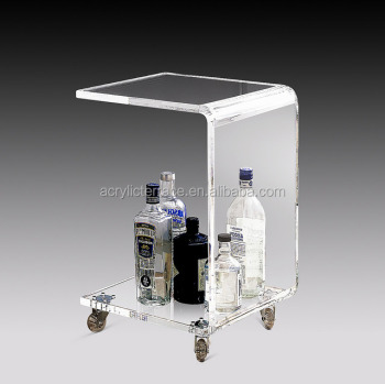 Modern style perspex lucite tea carts With casters,Acrylic side table