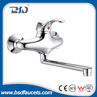 Single lever brass wall mounted kitchen faucets with L shape long swiveling spout