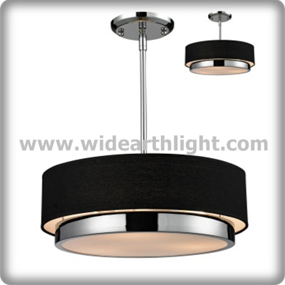 UL CUL Listed Iron Chrome And Black Fabric Shade Adjustable Hotel Pendant Light Project Lamp Fixture With Diffuser C50251