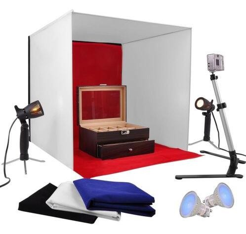 AW Photo Studio 60cm Photography Light Tent 60cm Cube illumination In A Box Kit w/ Backdrop Stand