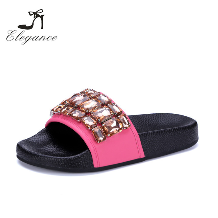 New Model Wholesale Fancy Girls Shiny Rubber Outsole Rhinestone Slides Sliders Slippers