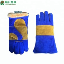 Blue Cow leather welding work gloves,with insulated lining.14""