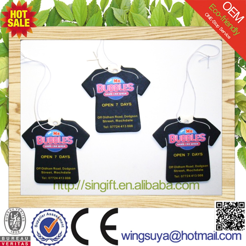 2017 T Shirt Shape Hanging Car Paper Air Freshener