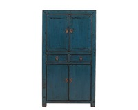 "29"" L Chinese living room lacquer solid pine wood cabinet with four doors two drawers"