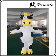 Large inflatable milk cow walking costume, inflatable dairy cow costume for adults