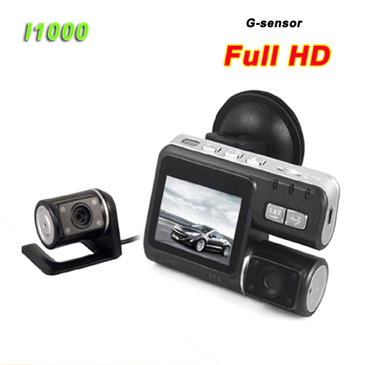 "Factory Price I1000 Car Dash Cam, 2.0"" LCD FHD 1080p Dual Lens Car Camera Front and Rear DVR"