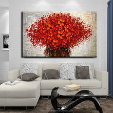 Wholesale abstract handpainted red tree decorative oil painting on canvas