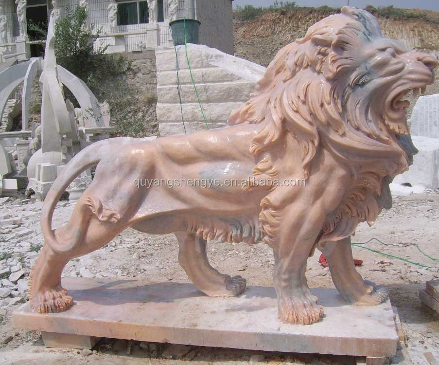 Outdoor Marble Lion Statue Sculpture