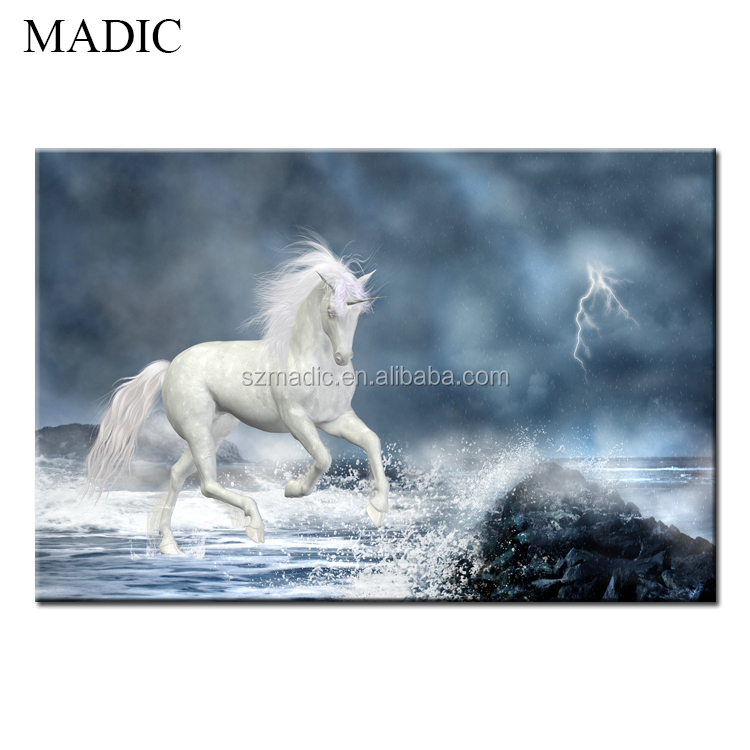 Top Quality Animal Oil Painting Unicorn Canvas Prints Stretched Wall Art for Hotel Wall Decoration
