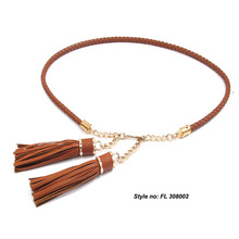 Fashion Lady High Quality Skinny New Style Chain Genuine Leather Metal Miss Belt