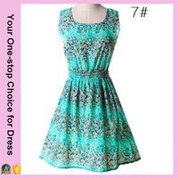 Fast Free Shipping 2016 Sexy Women Fashion Floral Printed Blue Sleeveless Casual Dress