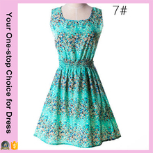 New Ladies dresses fashion sleeveless trend summer Korean chiffon floral dress