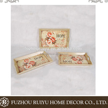 Flower design wooden tray with handle, wood tray manufacory, wood tray storage with handle