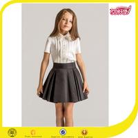OEM service custom primary school uniform design matching skirt white school tops shirt